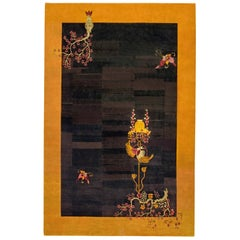 Midcentury Black and Yellow Handwoven Wool Chinese Art Deco Rug