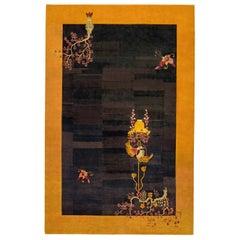 Midcentury Black and Yellow Handwoven Wool Chinese Art Deco Rug