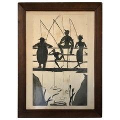 "Mid Century Black Art Watercolor ""Friends Fishing off a Bridge"" by Marcia, 1949"