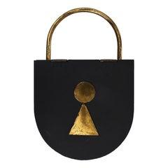 Midcentury Black Brass Padlock Key Hanger, Austria, 1950s