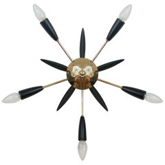 Midcentury Black & Brass Sputnik Flushmount Wall Light, Germany, 1950s