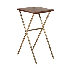 Midcentury Chinoiserie Lacquered Side Table with Brass X-Form Base