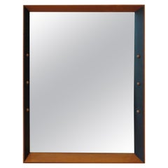 Midcentury Black Ebonized Beech Mirror with Ball Detail by Rowley Design