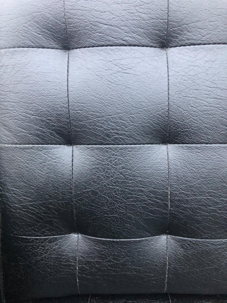 Midcentury Black Faux Leather Vinyl Tufted Long low Sofa by Patrician For Sale 3