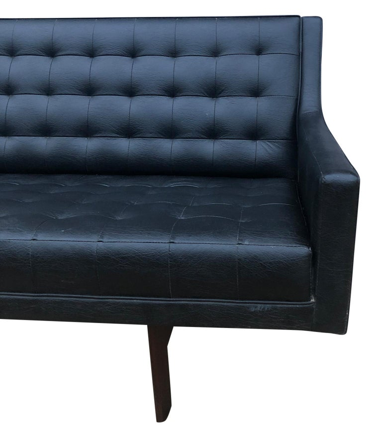 American Midcentury Black Faux Leather Vinyl Tufted Long low Sofa by Patrician For Sale