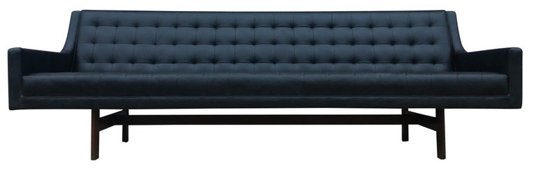 Mid-20th Century Midcentury Black Faux Leather Vinyl Tufted Long low Sofa by Patrician For Sale