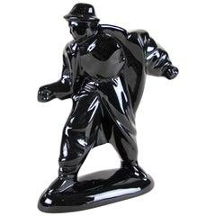 """Midcentury Black Figural Sculpture """"The Stranger"""", Austria, circa 1960"""