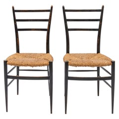 Midcentury Black Lacquered Chairs After Gio Ponti, Italy, 1950s