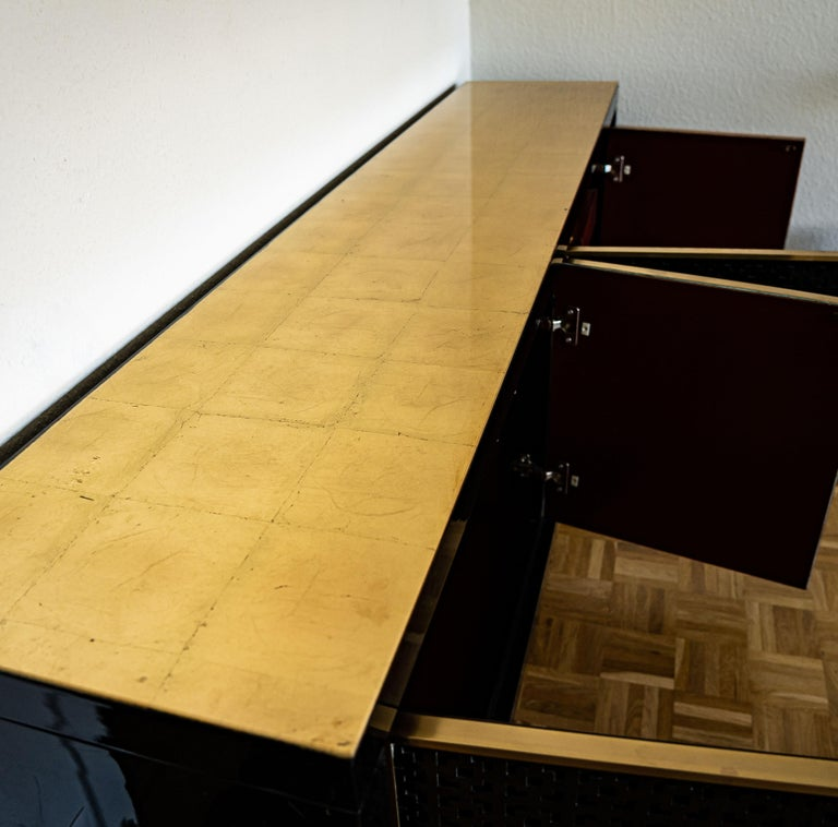 Mid-Century Modern Midcentury Black Lacquered Italian Credenza with Gold Leaf Glass Top For Sale