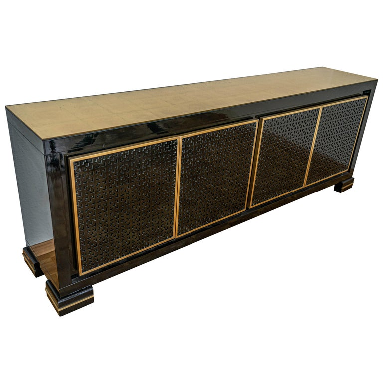 Midcentury Black Lacquered Italian Credenza with Gold Leaf Glass Top For Sale