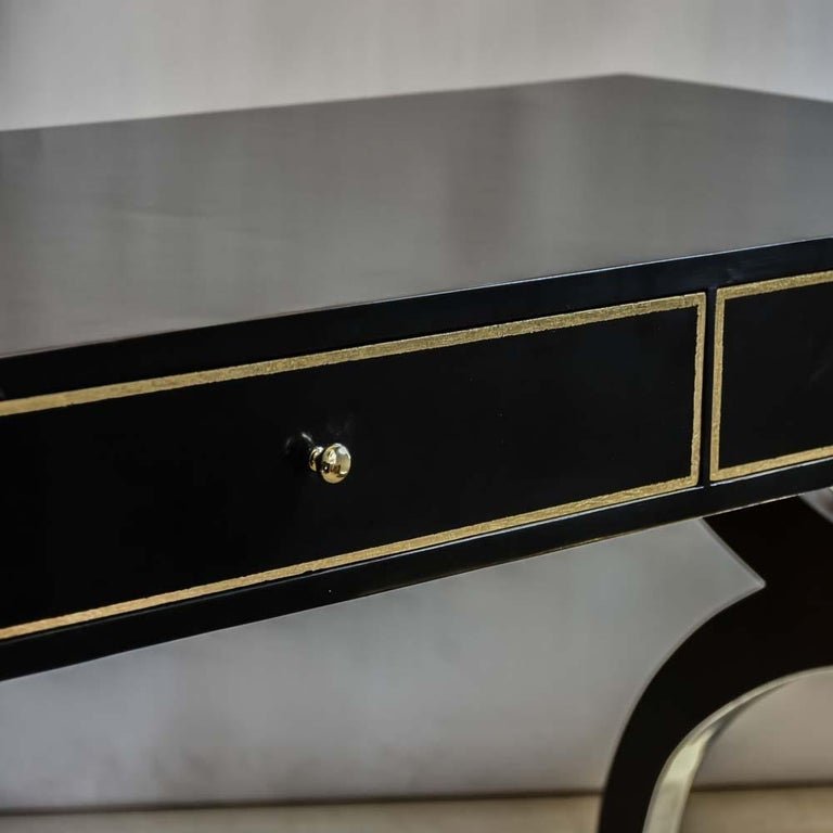 Brass Midcentury Black Lacquered Wooden Desk Italian Design Attributed to Paolo Buffa For Sale