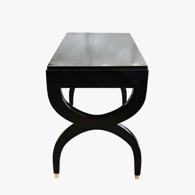 Midcentury Black Lacquered Wooden Desk Italian Design Attributed to Paolo Buffa For Sale 1