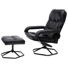 Midcentury Black Leather Reclining Armchair and Ottoman