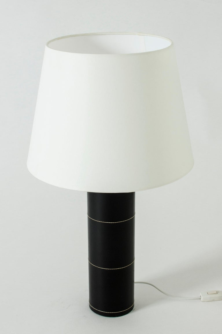 Scandinavian Modern Midcentury Black Leather Table Lamp from Bergboms For Sale