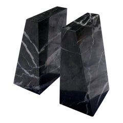 Midcentury Black Marble Book Ends a Pair