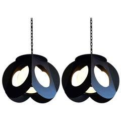Midcentury Black Metal Ceiling Lamps, Pair