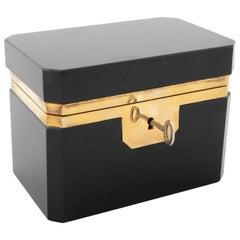 Midcentury Black Opaline Glass Box with Original Key