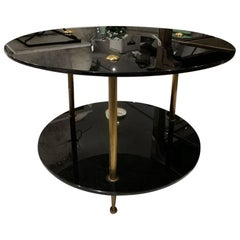 Midcentury Black Opaque Glass and Brass Coffee Table, France