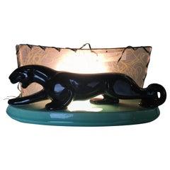 Midcentury Black Panther Ceramic Statue Lamp w/ Whipple Stitch Fiberglass Shade