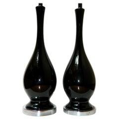 Midcentury Black Porcelain Table Lamps