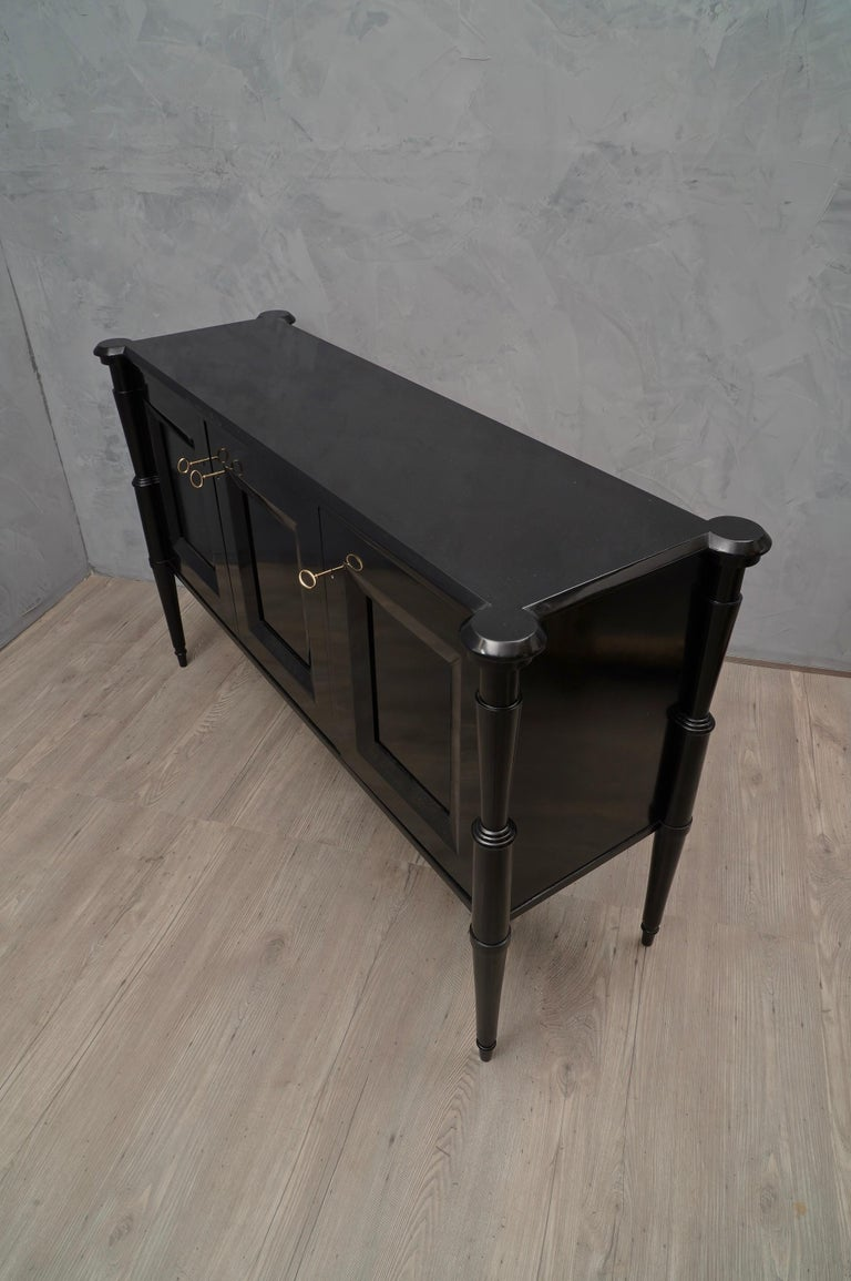 Mid-Century Modern Midcentury Black Shellac and Brass Italian Sideboard, 1950 For Sale