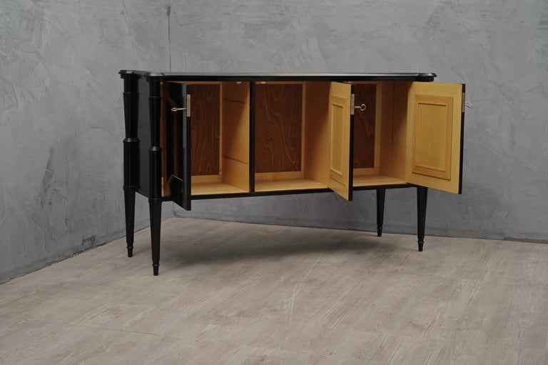 Mid-20th Century Midcentury Black Shellac and Brass Italian Sideboard, 1950 For Sale