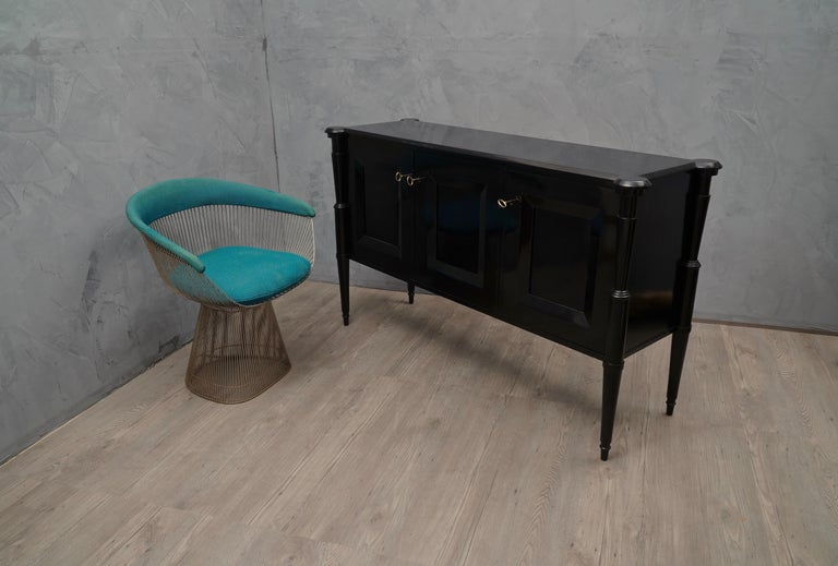 Midcentury Black Shellac and Brass Italian Sideboard, 1950 For Sale 1