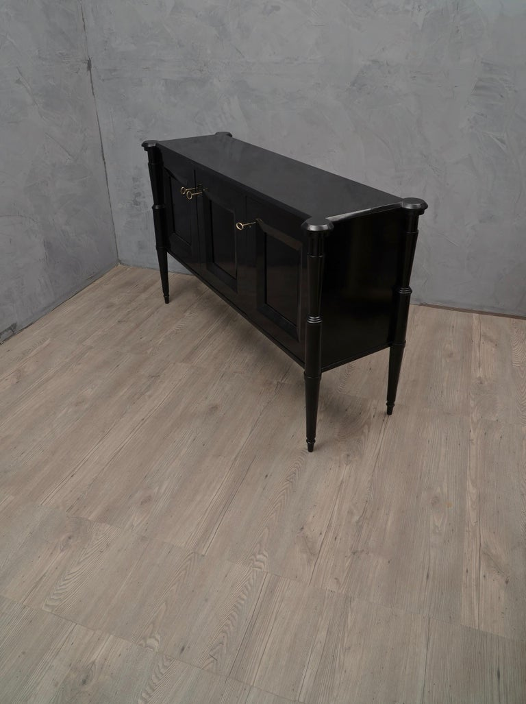 Midcentury Black Shellac and Brass Italian Sideboard, 1950 For Sale 2