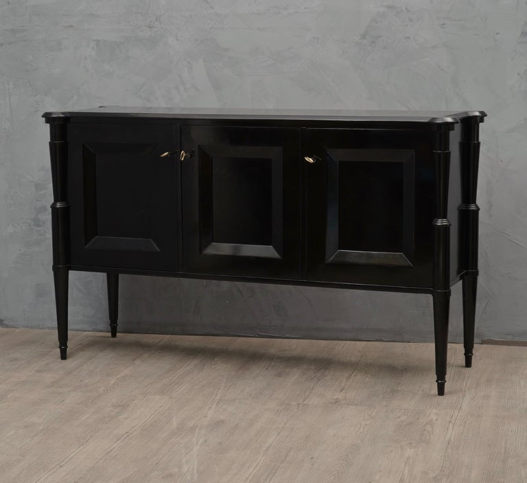 Midcentury Black Shellac and Brass Italian Sideboard, 1950 For Sale 4