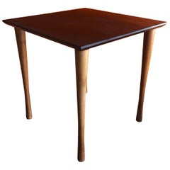 Midcentury Black Slate and Walnut Side Table by Harpswell House