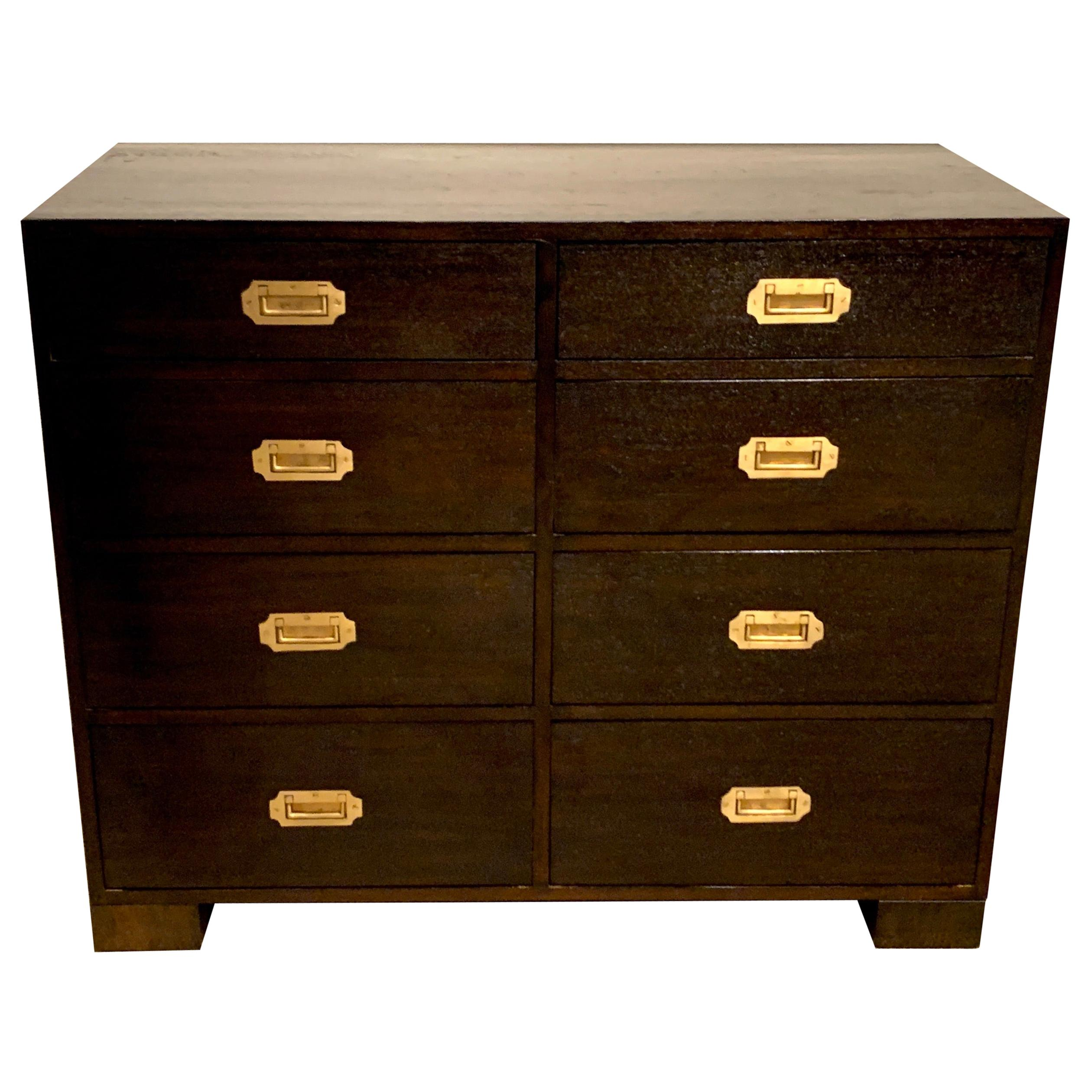 Midcentury Black-Stained Hardwood and Brass Campaign Style Chest