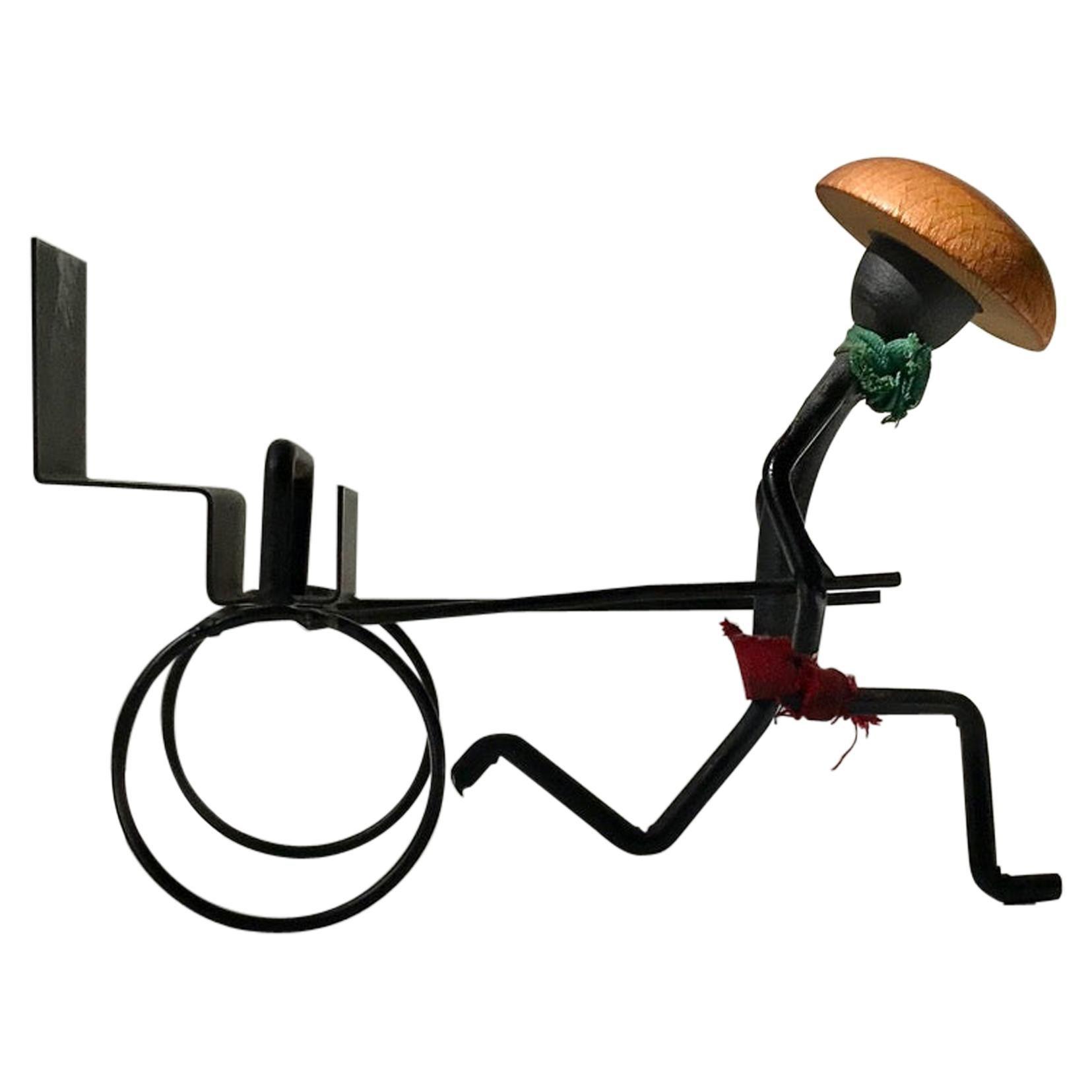 Midcentury Black String Iron Rigshaw by Bror Bonfils, 1950s