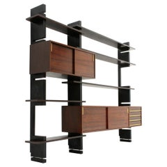 Midcentury Black Uprights 'Exstenso' Wall Unit by Amma, 1960s