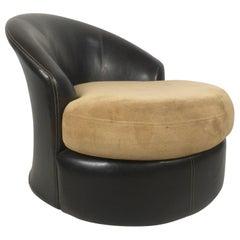 Midcentury Black Vinyl and Micro Fiber Swivel Chair