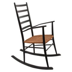 Midcentury Black Wood Vintage Scandinavian Rocking Chair with Rope Seat, 1950s