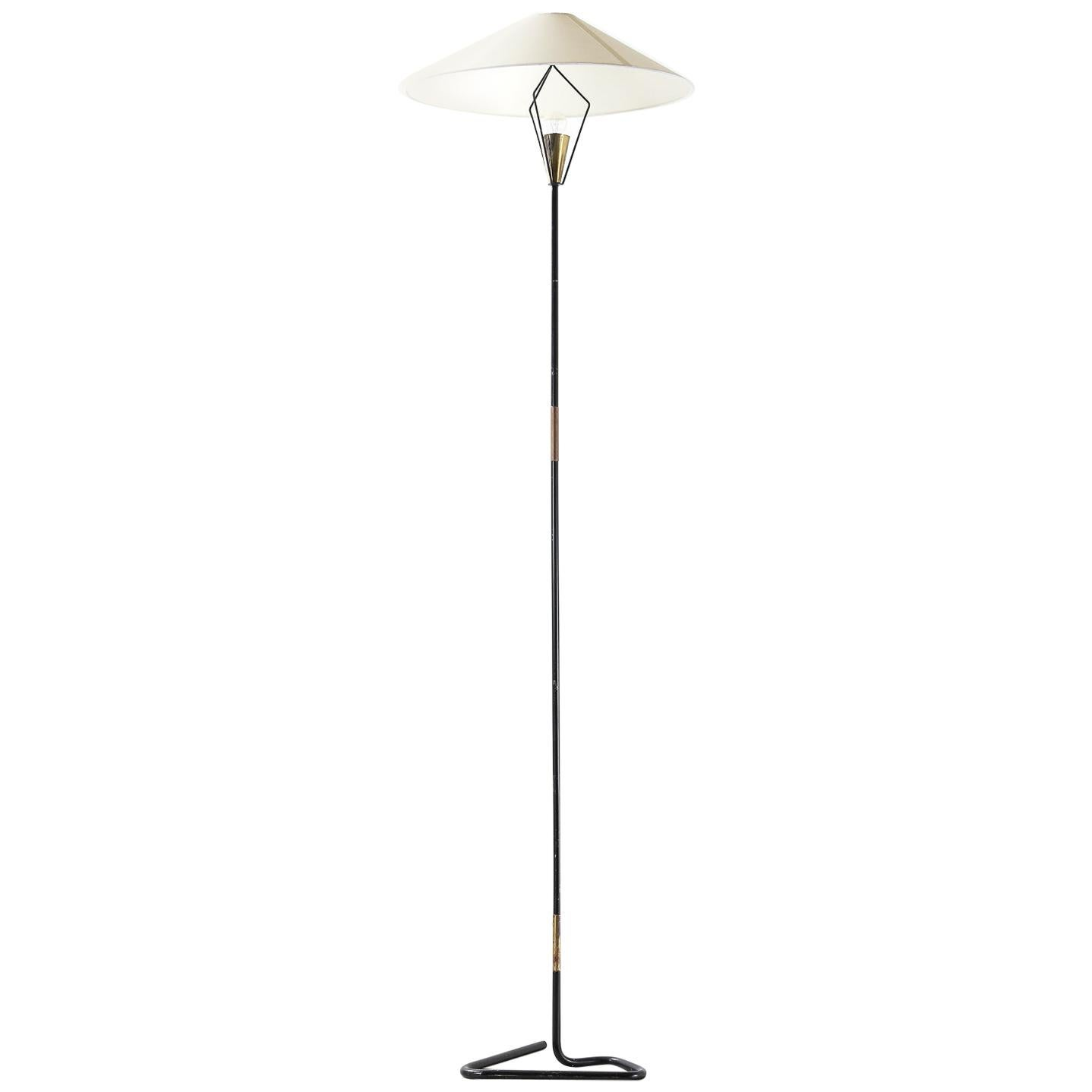 Midcentury Blackened Brass Floor Lamp with Antique Brass Finished Details