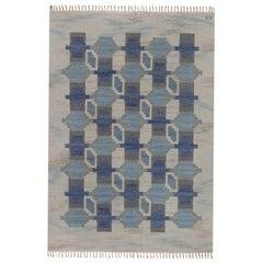 Midcentury Blue and Grey Geometric Swedish Rug byJudith Johansson