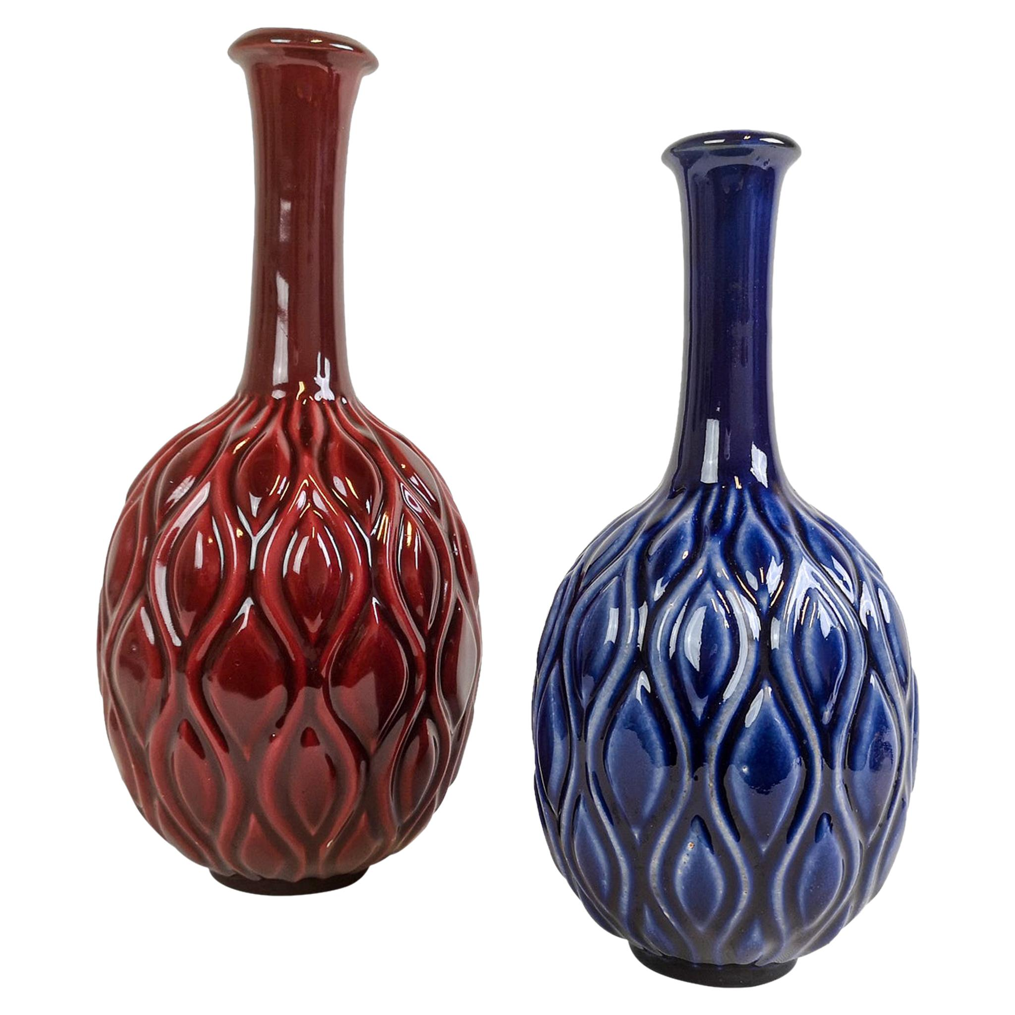 Midcentury Blue and Red Peacock Vases Sven Erik Skawonius Upsala Ekeby, 1950s