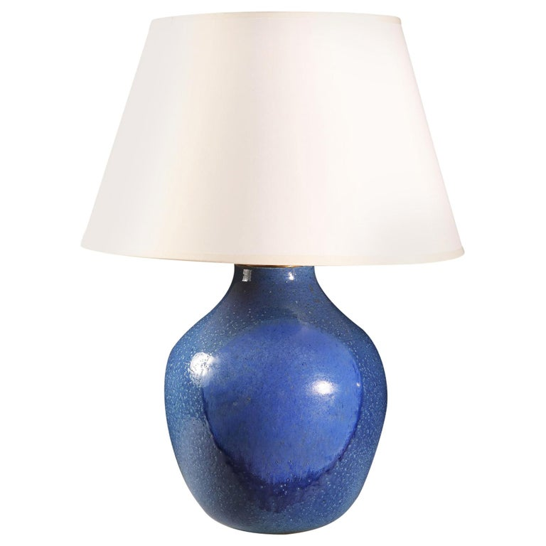 Midcentury Blue Art Pottery Vase as a Table Lamp For Sale