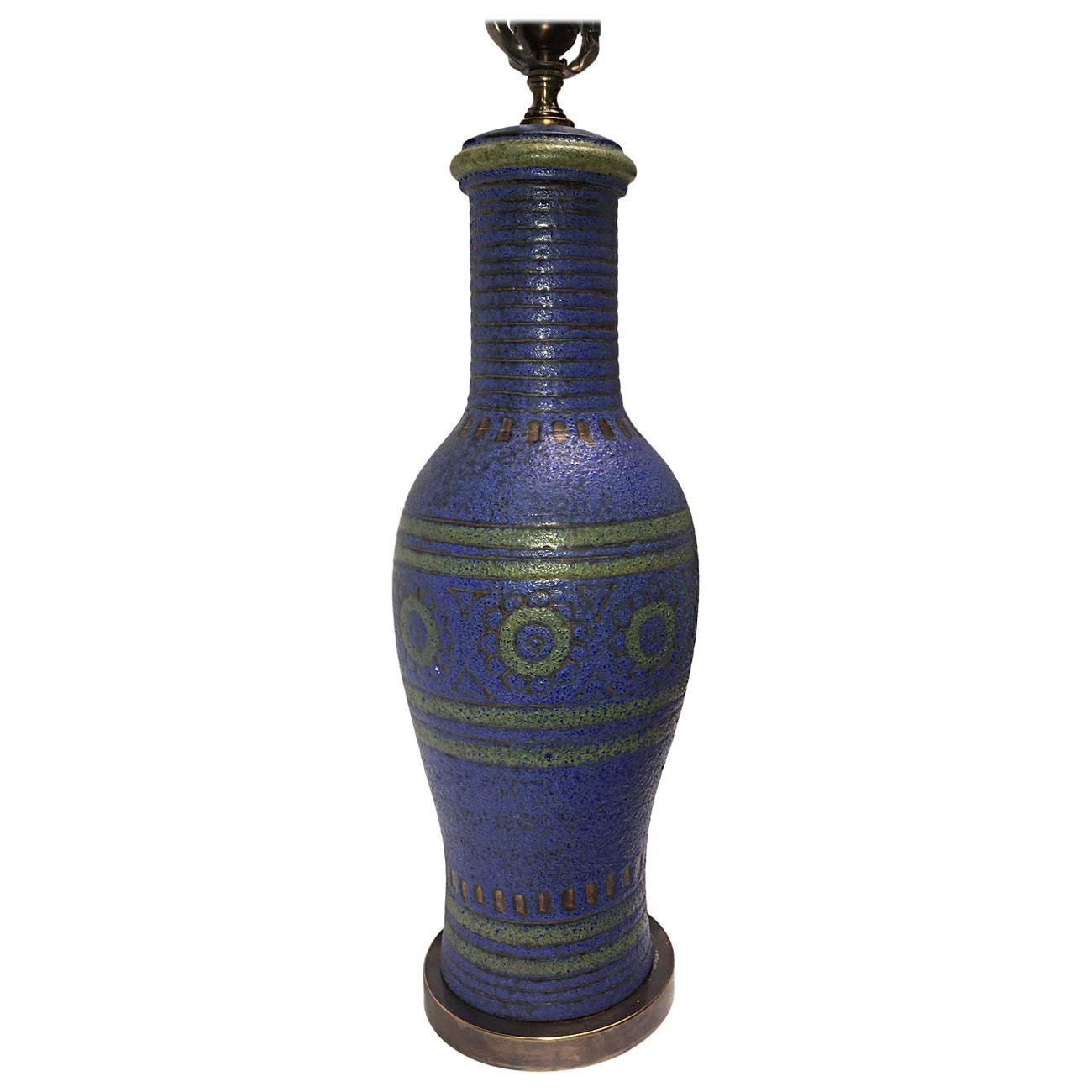 Midcentury Blue Ceramic Table Lamp