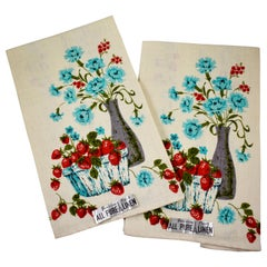 Midcentury Blue Cornflower & Strawberry Silkscreened Linen Tea Towels, Set of 2