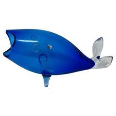Midcentury Blue Glass Fish Vase by Blenko