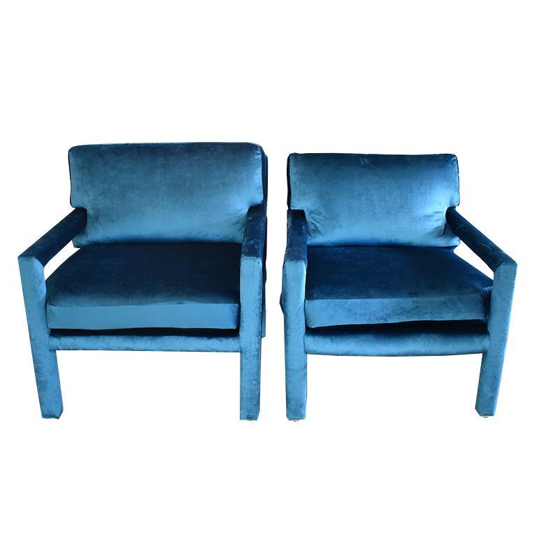 Midcentury Blue Velvet Milo Baughman Style Parsons Open Arm Club Chairs For Sale