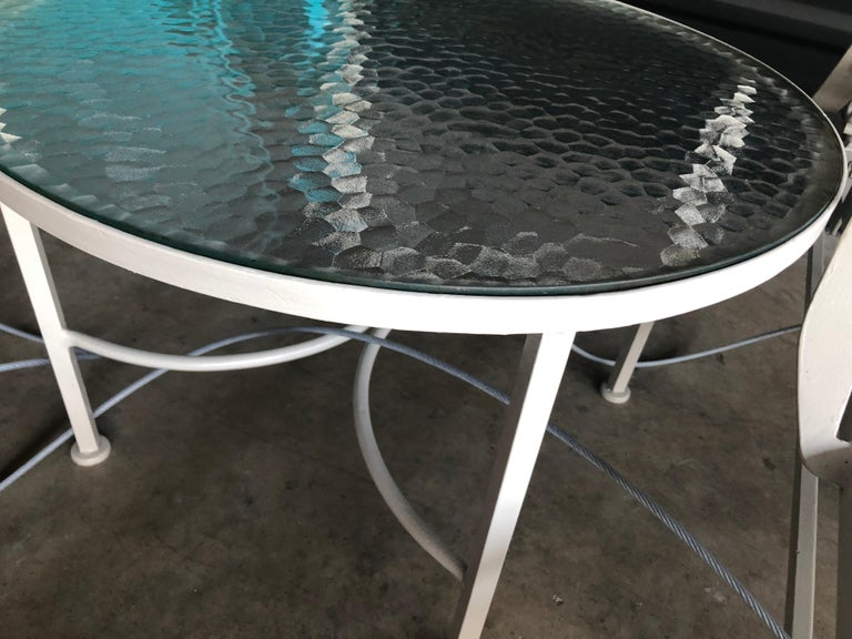 Bob Anderson Refinished Wrought Iron in Almond White and Glass Patio Side Table For Sale 5