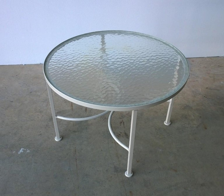 Post-Modern Bob Anderson Refinished Wrought Iron in Almond White and Glass Patio Side Table For Sale