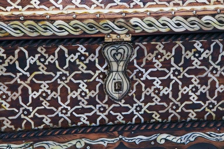 Moorish Midcentury Bone Inlaid Chest Box or Jewelry Casket For Sale