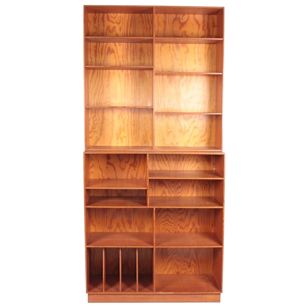 Midcentury Bookcase in Patinated Origon Pine, Made in Denmark, 1950s