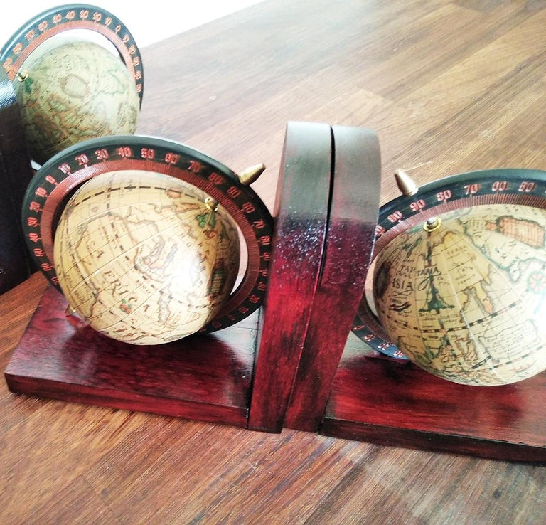 Midcentury Bookends World Globe For Sale 3