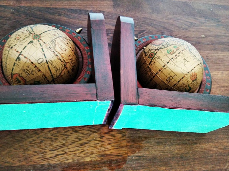 Mid-Century Modern Midcentury Bookends World Globe For Sale