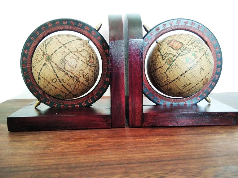 French Midcentury Bookends World Globe For Sale